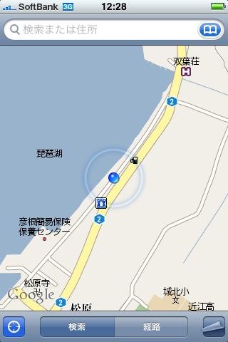 松原水泳場近くの駐車場をiPhoneのマップで表示した画面キャプチャ