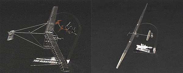 1/144 人力飛行機シリーズの商品写真。Gossamer Albatross(左)とDaedalus(右)。写真提供:有限会社エアロベース岩見慎一氏