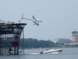 プラットフォームから発進した直後のWASAの機体